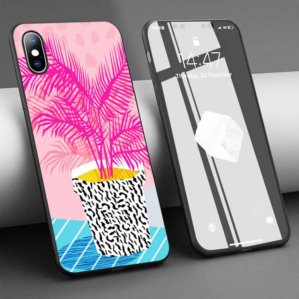 Funda de teléfono de silicona suave para iPhone, protector de silicona suave con plantas tropicales púrpuras para iPhone 11 Pro Max X 5S 6 6S XR XS Max 7 8 Plus