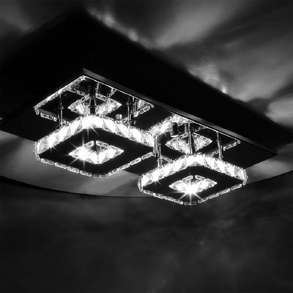 24w retangulo de cristal lampada do teto de poupanca de energia luminaria dupla cabeca