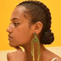 rhinestone wedding earring crystal post dangle earring long drop tassel jewelry for girls party dance festival celebration