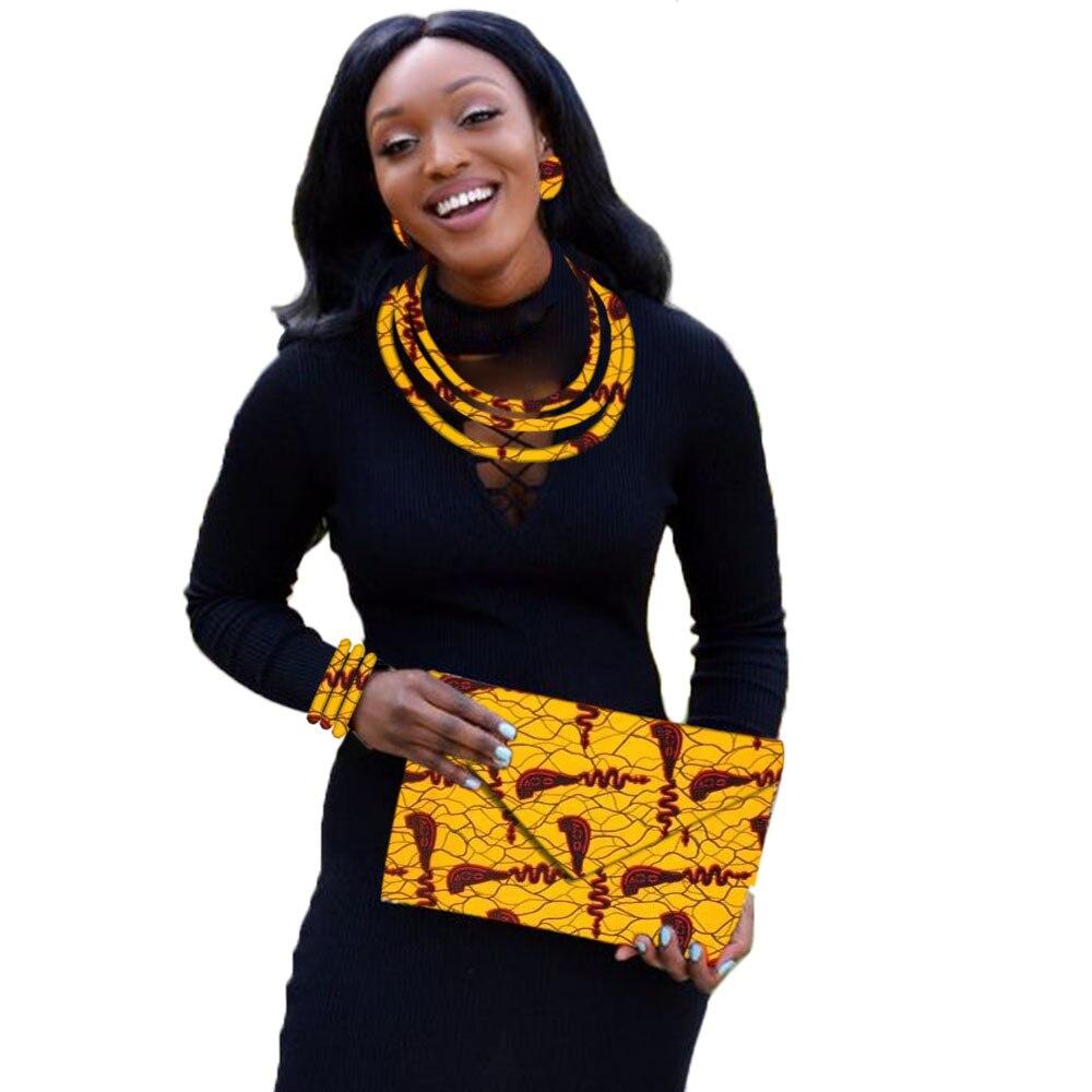 Принт восковое ожерелье африканская Анкара ткань ювелирное ожерелье набор с серьгой Браслет сумки