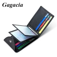 gagacia new mens wallets cowhide drivers license bag genuine leather credit cards holder clutch short purse slim cover wallets