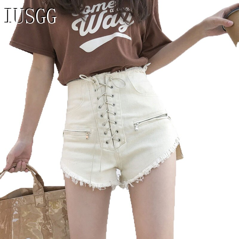 Trendy Chic Bandage Sexy Hot Shorts Female Clubwear High Waist Jeans Skinny Slim Shorts Denim Trousers Casual Shorts Lace Up