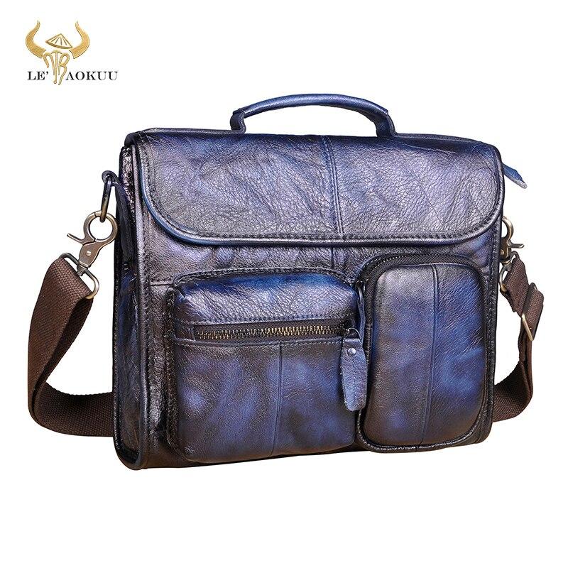 """Bolso de mensajero informal para hombre de cuero auténtico azul a la moda, bolso de diseño Satchel, mochila escolar para hombro cruzado de 11 """"para hombres, 202"""