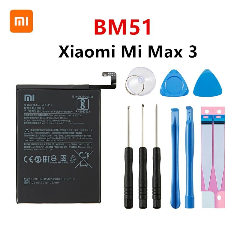Batería original BM51 100% de 5500mAh Xiao mi para Xiaomi Mi Max 3 Max3 BM51 baterías de reemplazo de teléfono de alta calidad + herramientas