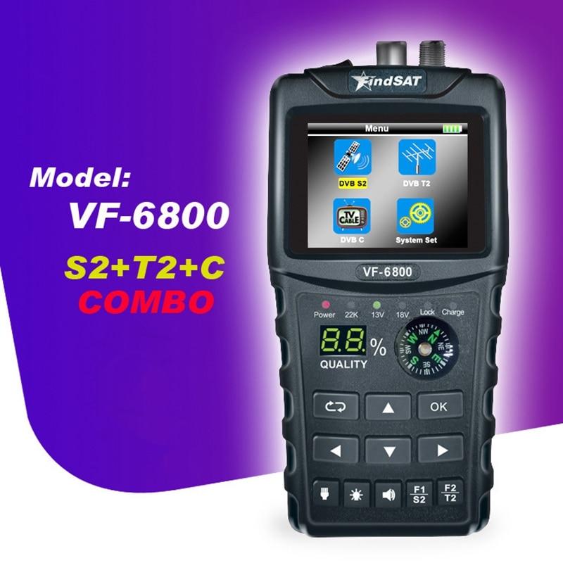 ELEG-VF-6800 buscador de satélite medidor Dvb-T2/DVB S2/DVB C Combo buscador de Satélite Dvb T2 receptor Satfinder enchufe estadounidense
