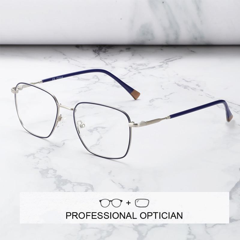 ZENOTTIC Men Prescription Glasses Frame Square Anti Blue Ray Photochromic Progressive Eyeglasses Bus