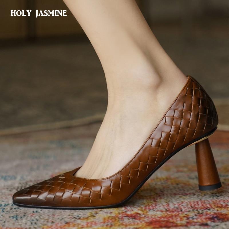 جلد طبيعي عالية الكعب نسج مضخات مثير gradiقارب أحذية فستان أحذية النساء أشار تو كعب رقيقة السيدات أحذية ربيع جديد