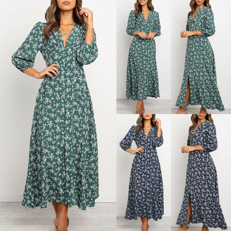 Green Summer Dress Club Sexy Dress  Bohemian flower print V-Neck Long Sleeve Casual Maxi Split Dress Dresses