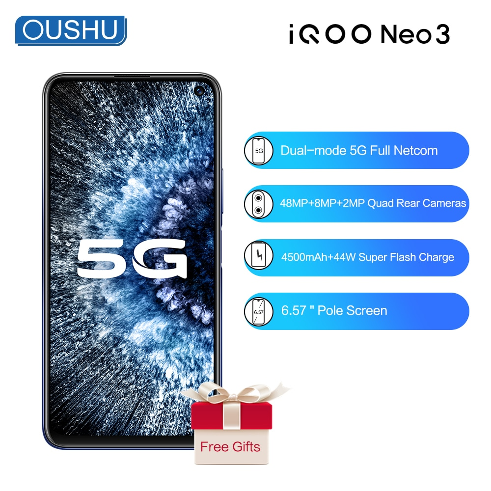 In Stock Dual-Mode 5G IQOO neo 3 Snapdragon 865 Celular 144Hz 6.57'' Racing Screen 12GB 128GB 48MP UFS3.1 4500mAh NFC Smartphone