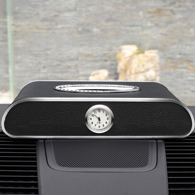 Caixa de tecido do carro multifunction caixas de papel do carro preto couro do plutônio cartão design criativo titular número telefone placa
