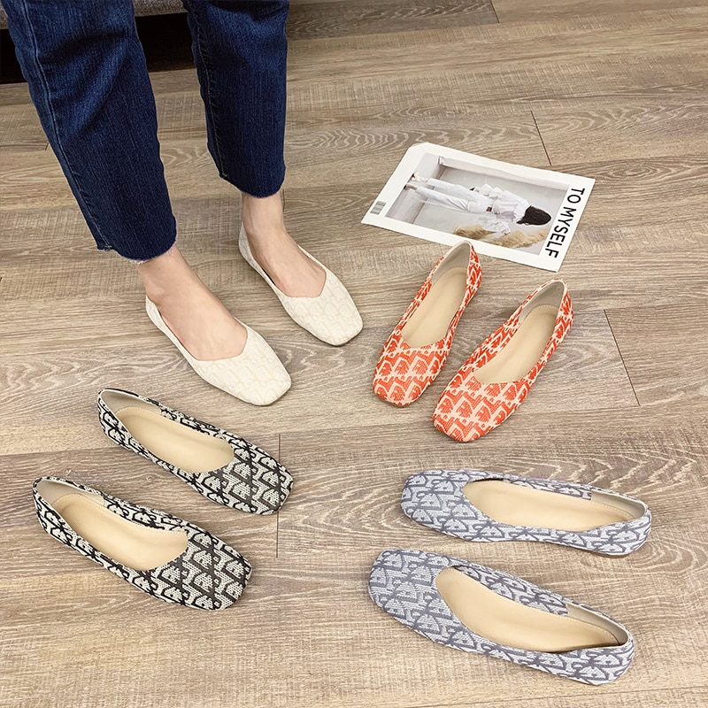2021 Ladys Spring,Summer Flat Shoes,Women Pumps Flats,Loafers Shallow,Fashion,Woven Flats,Elegant,Co
