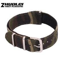 Großhandel Preis leinwand Strap für nato zulu armband nylon mit edelstahl ringe Camouflage Armee Grün 20mm Armband