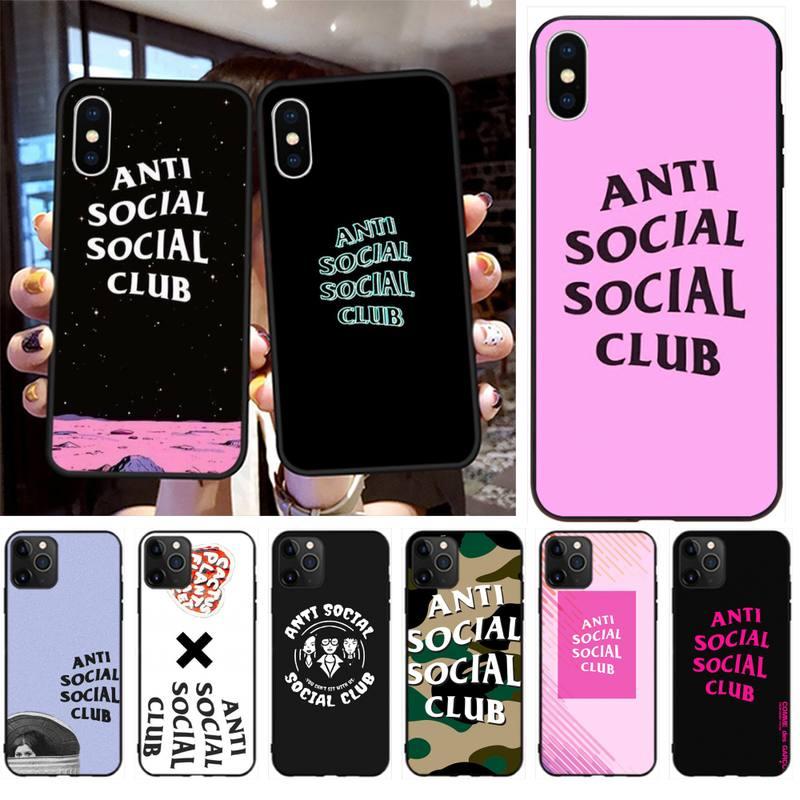 ASSC Anti Social Club Logo negro TPU de suave goma de la cubierta del teléfono para iPhone 11 pro XS MAX 8 7 6 6S Plus X 5S SE 2020 XR caso