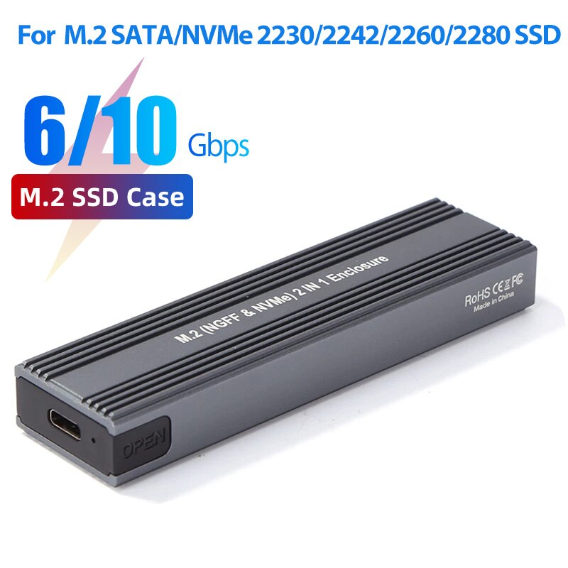 M.2 إلى USB 3.1 SSD ، ثنائي البروتوكول M.2 NVME PCIe NGFF SATA M2 SSD محول ل 2230 2242 2260 2280 NVMe/SATA M.2 SSD RTL9210B