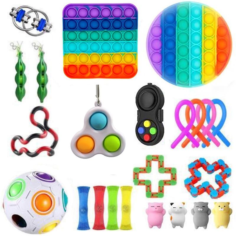 Fidget Toy Sets with Pop Pack It Anti Stress Figet Toys Box Set Fidget Toys Pack Set Push Pops Bubble Sensory Toy Squishy Stress