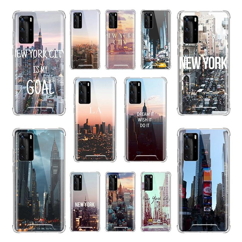 New York City Case for Huawei P20 P40 Lite P30 Pro P10 P Smart Z PIus 2019 Airbag Anti Fall TPU Phone Covers