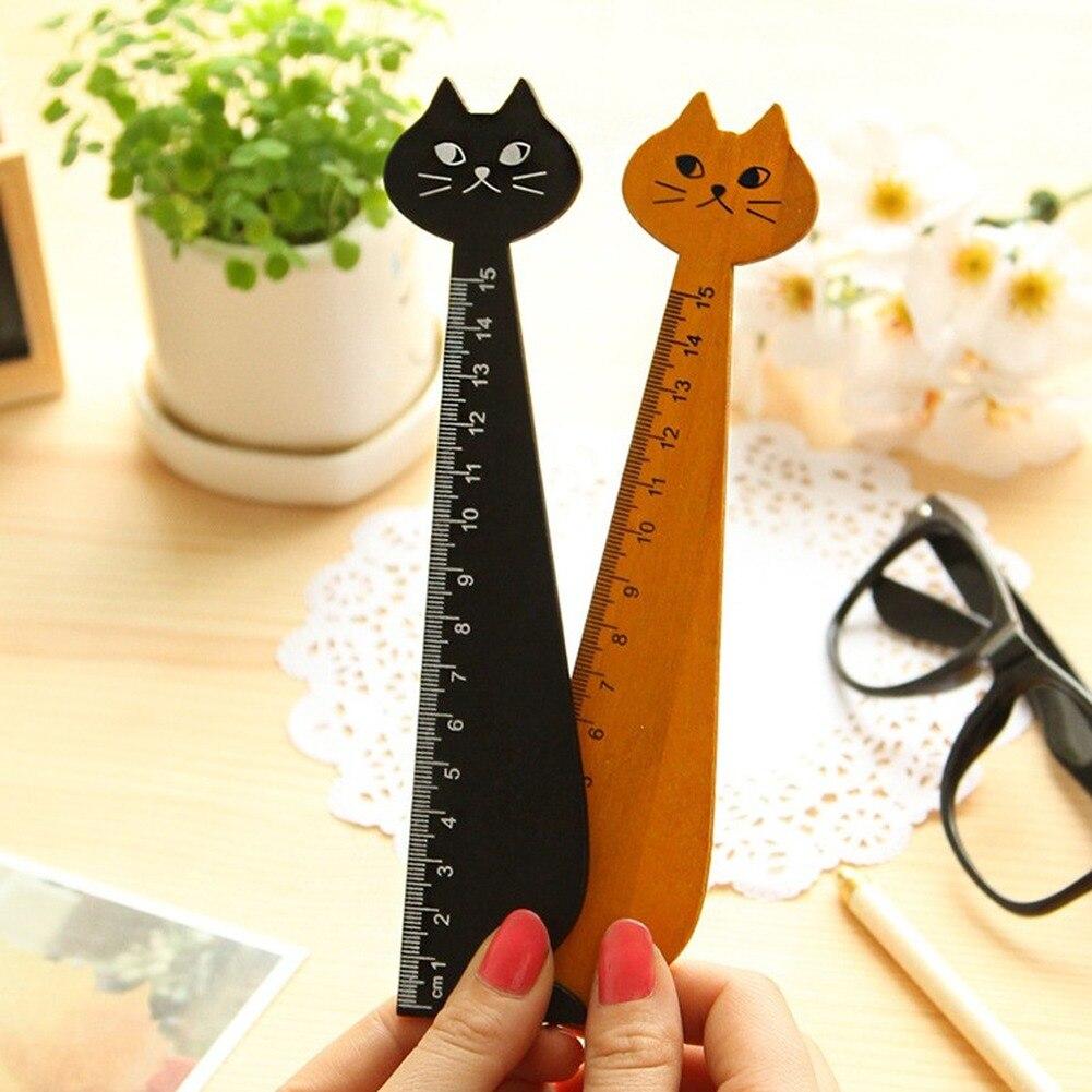 Креативная деревянная линейка с мультяшным котом для рисования, канцелярские принадлежности для учеников, милая линейка с котенком и лицом...