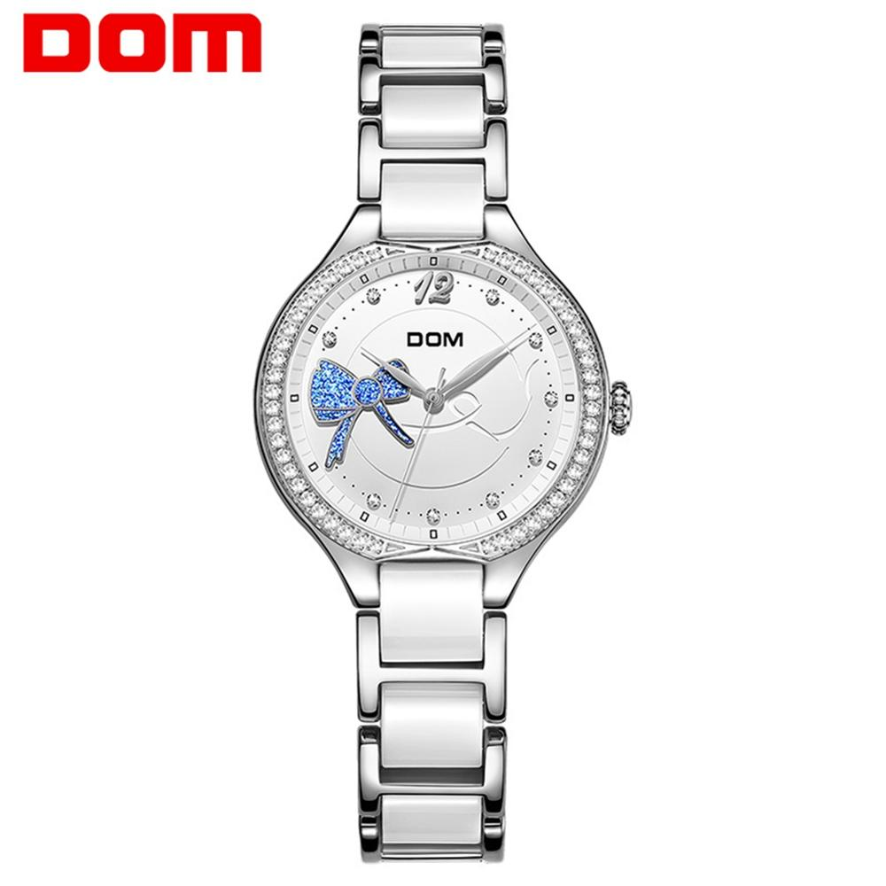 Relojes de pulsera con diamantes para mujer, marca de lujo superior, relojes de cerámica, G-1271D-7MH