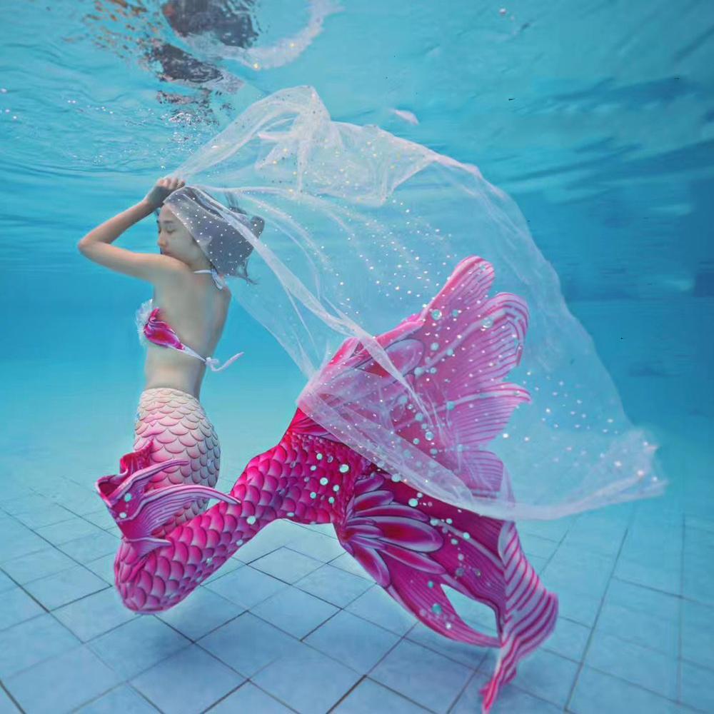 حورية البحر سوبر طويل تول الذيل ملابس السباحة شاطئ حورية البحر الصدرية مع المنوفية السباحة الصيف تأثيري مخصص الأداء زي