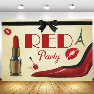 Red Lipstick Lip Print Sexy Hot Women Evening Party Backdrops Stage Poster High Heel Shoes Pattern Adult Birthday Backgrounds