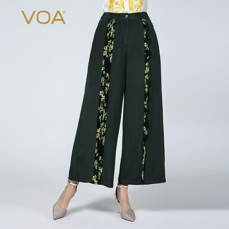 VOA tinta verde 36 mmi pesado de impresión de seda nervioso pliegues de cuero micro-bala de slung-patas casual Pantalón ancho K917