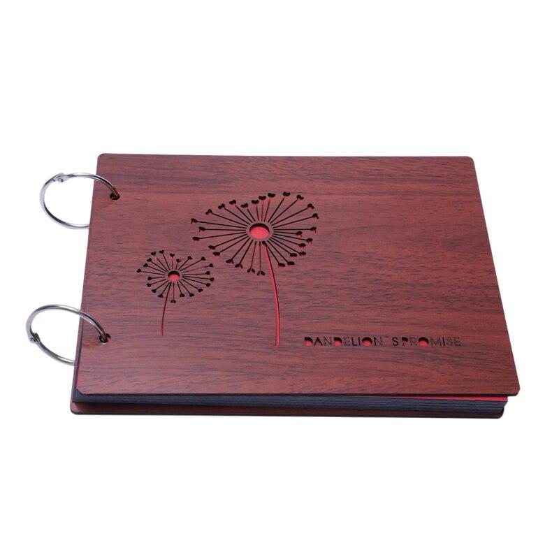 DIY Фотоальбом с деревянной обложкой юбилейный альбом для скрапбукинга 8X6 дюймов самоклеящаяся книга для фотографий с черными страницами дл...