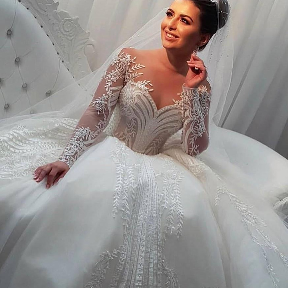 Vestidos de noiva manga longa princesa Lace Wedding Dress Appliqué Bead Ball Gown abito da sposa plus size свадебное платье