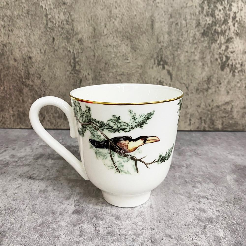 الطيور النمر السيراميك فنجان القهوة مع مقبض اليدوية الفخار فنجان شاي السفر المطبخ أدوات المائدة الشمال المنزل فنجان القهوة