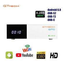GTMEDIA GTC Android 6.0 TV Box DVB-S2/T2/câble/ISDBT 2GB RAM 16GB ROM récepteur de télévision par Satellite gratuit + cadeau gratuit 2 ans Cline