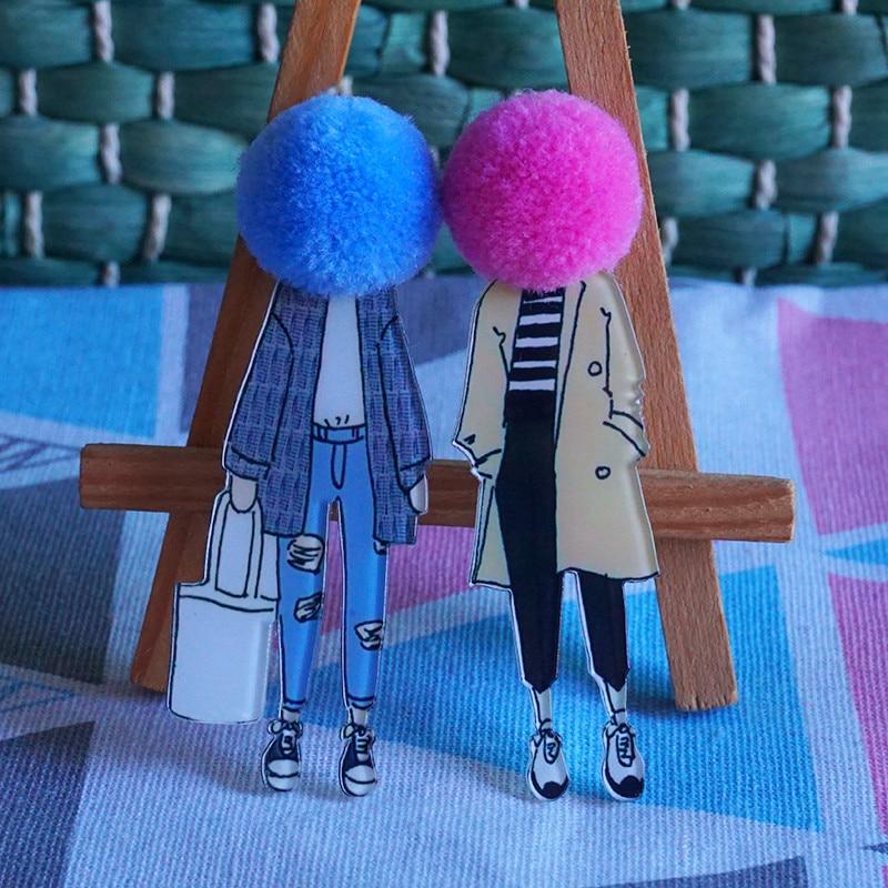 New Coming Woman Wool Ball Acrylic Brooch Diy Cute Cartoon Brooches Character Icons Lapel Pins Big B