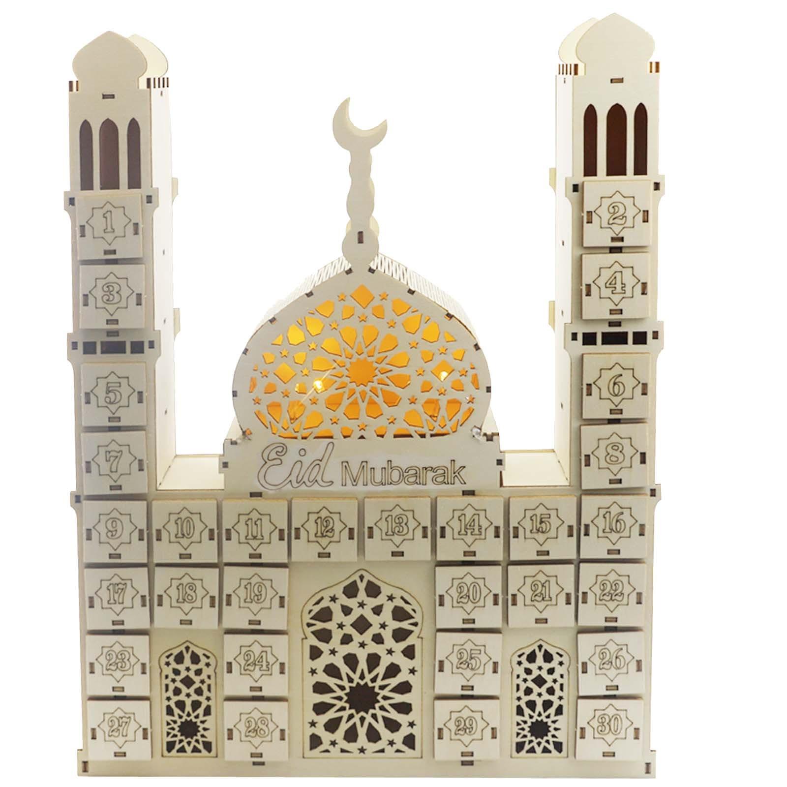 Eid Mubarak Wooden Crafts Decoration Creative DIY Drawer Cabinet Ramadan Countdown Calendar Storage Box Decoration