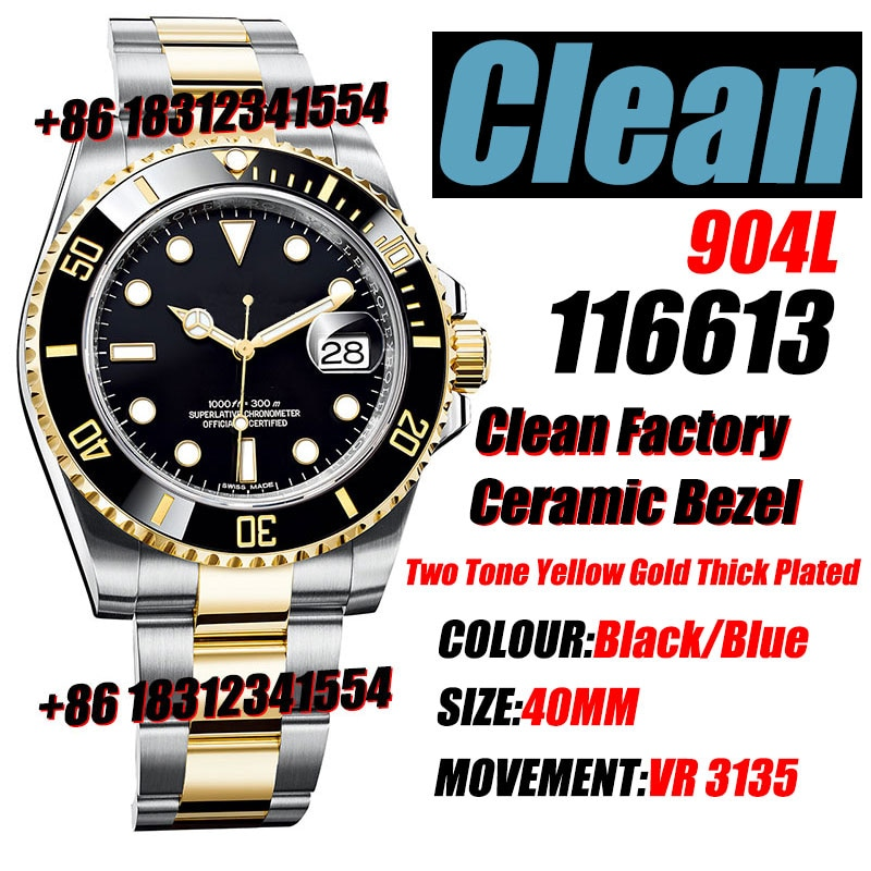 Men's Mechanical Watch Sub 116613 Black Ceramic Clean Factory 1:1 Best Edition 904L SS Case and ARF Bracelet VR3135