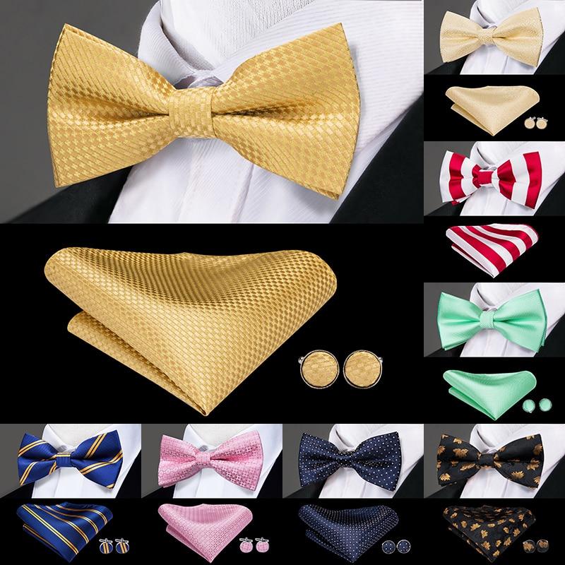 Hi-Tie, Классические Золотые галстуки-бабочки для мужчин, шелковые галстуки-бабочки, предварительно завязанные галстуки-бабочки, карманные Кв...
