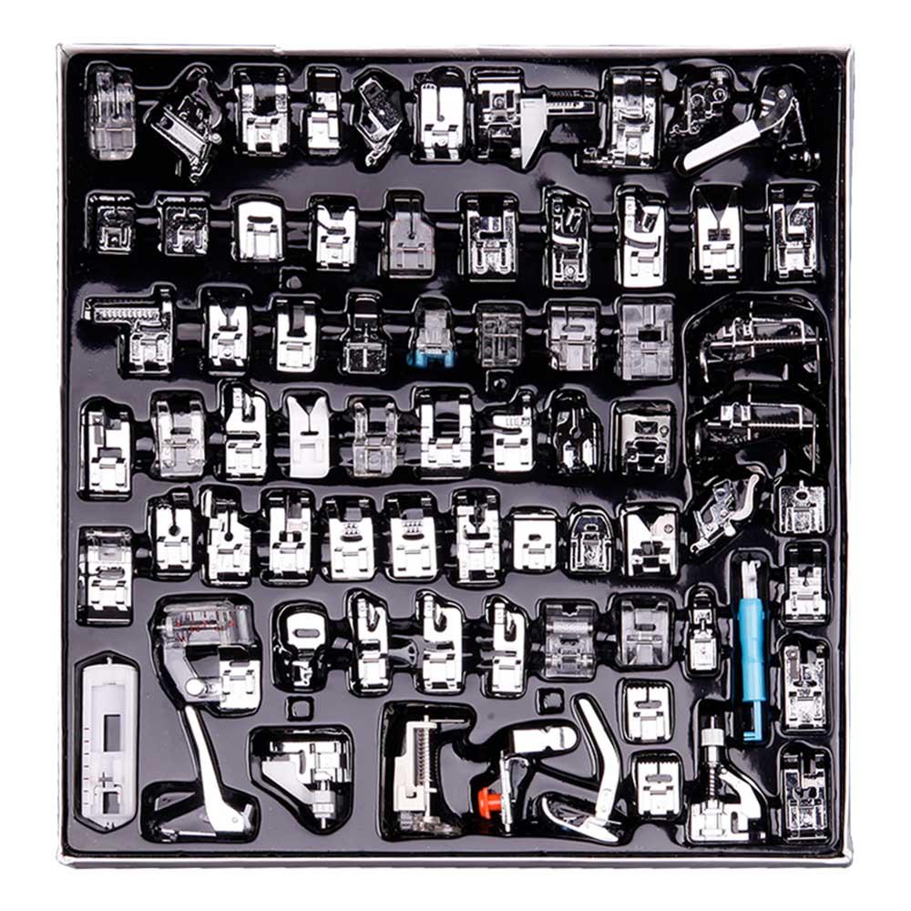 Machine à coudre 32/52/62/72   Pressoir pieds, presse pour Brother Singer Kit de couture tressage point aveugle sur la règle de fermeture éclair