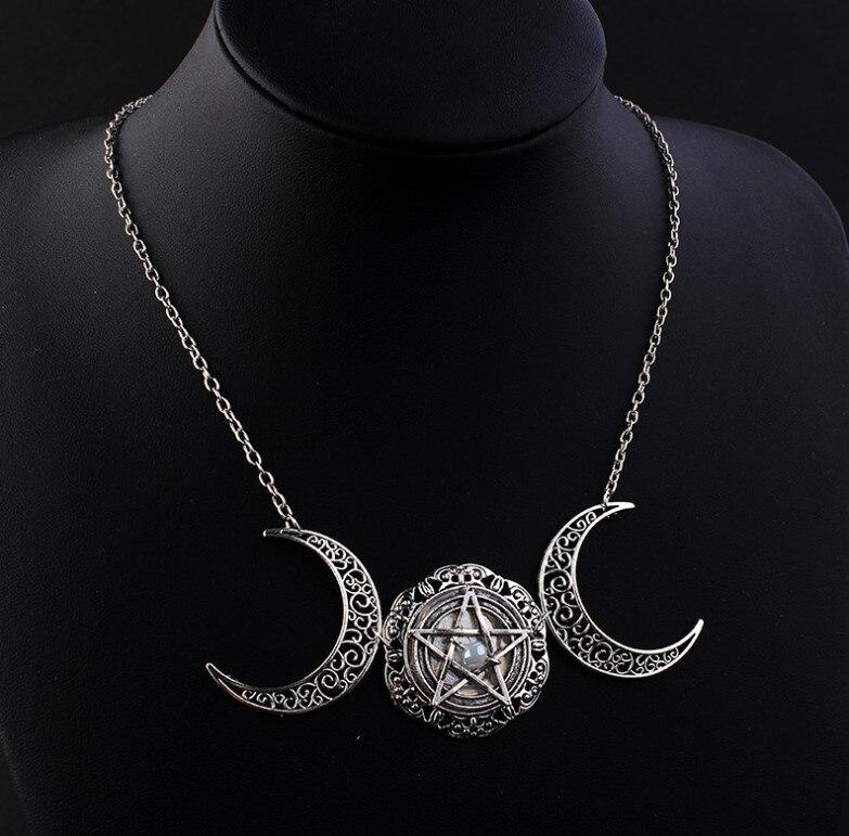 Vintage wiccan lua pentagrama magia colares bruxa jóias