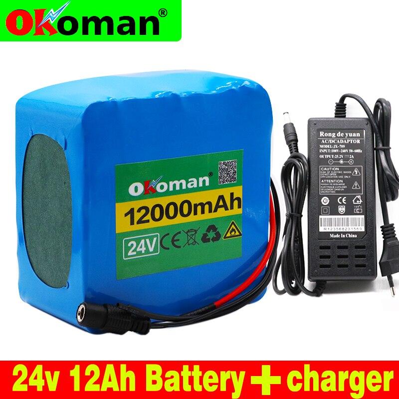 Paquete de batería de litio 6s5p 24V 12Ah, bicicleta eléctrica, pedal, escúter, silla de ruedas, cosechadora BMS 25,2 V 12000mAh + cargador para EUA europea