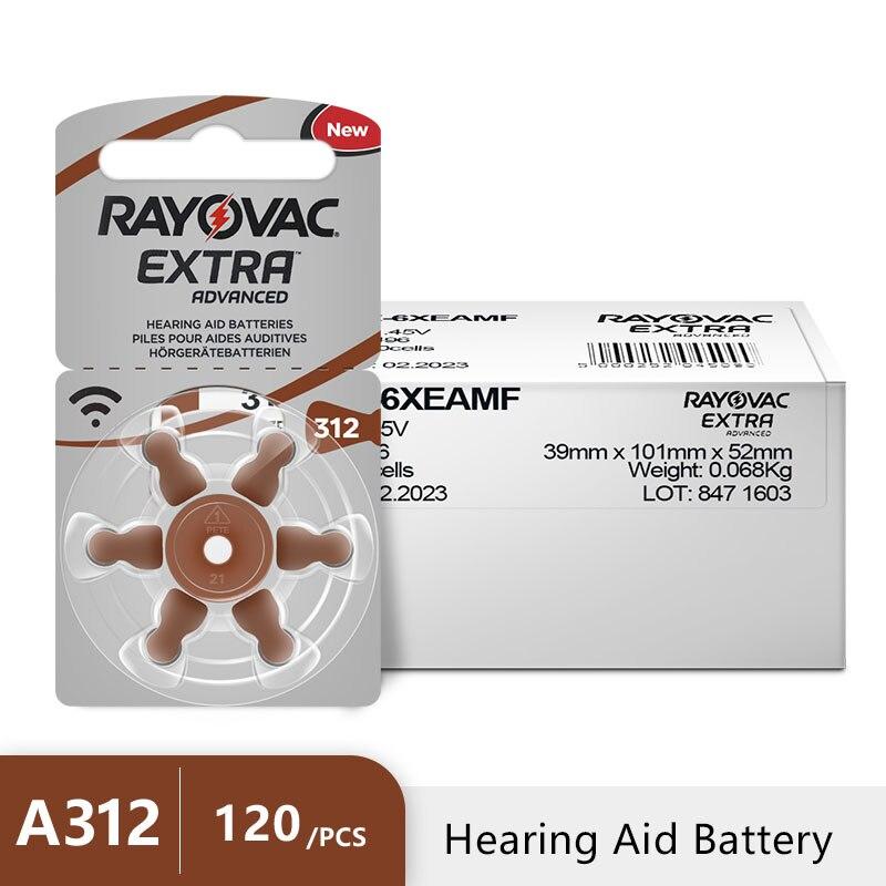 120 PCS Rayovac Extra Zinc Air Hearing Aid Batteries A312 312A ZA312 312 PR41 Hearing Aid Battery A312 For Hearing Aid
