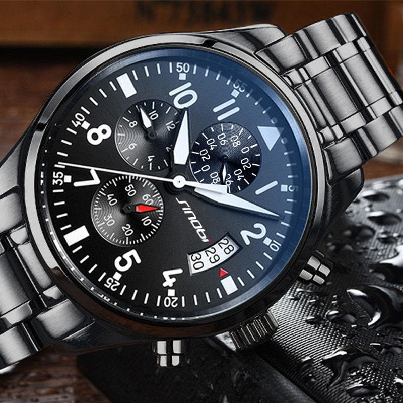 SINOBI-ساعة يد رجالية من الفولاذ المقاوم للصدأ ، كرونوغراف رجالي ، كوارتز ، مقاومة للماء ، فاخرة