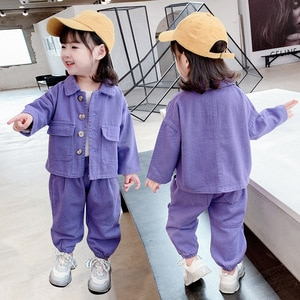 Children's  Clothing Girls' Suits Spring and Autumn Clothing 2021 New Children's Girls Baby Korean Two-piece Tooling