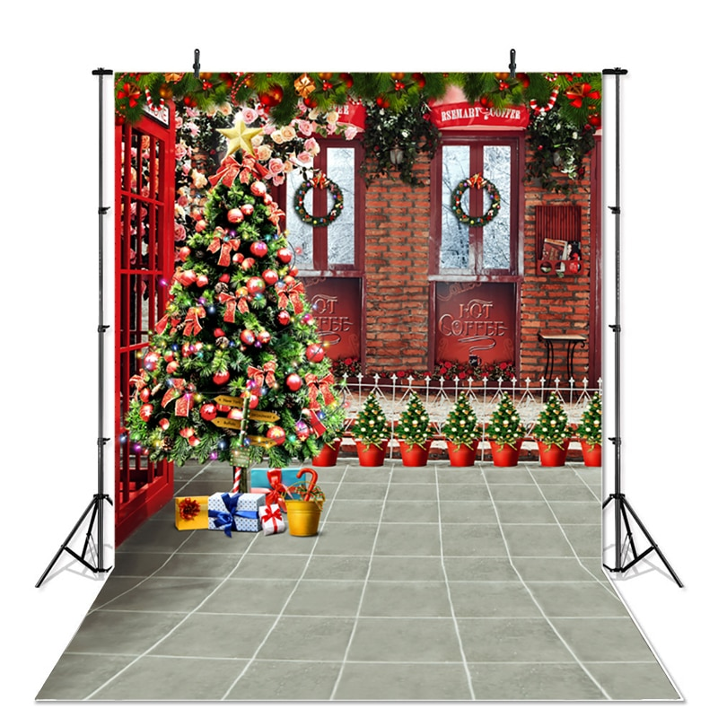 Christmas Photography Background X-mas Tree Potted Plants Vintage Brick Wall Backdrop Party Decoration Banner For Photo Studio