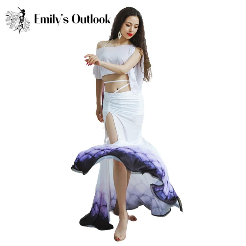 Живота юбка для танцев Русалка Для женщин Восточный танцевальное шоу одежда воды пряжа Top Team, летняя одежда для мальчиков