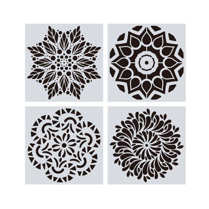 16 sztuk/zestaw Mandala szablony DIY szablon do rysowania malowanie ścian na płytka drewniana Rock R9JB