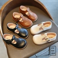 factory direct korean version 2021 spring and autumn princess shoes childrens flat shoes new medium and large childrens single