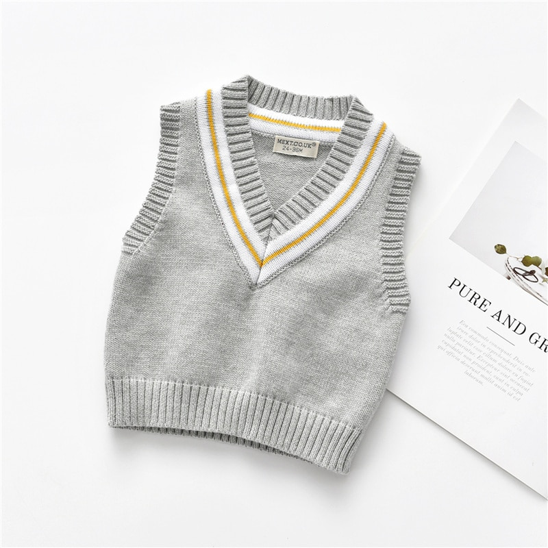 Children's Vest Sweaters Pullover V-neck Underwaist Line Thread Trimming Knitting Thick Needle Sleeveless Kid Girl Clothes 2-7Y