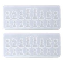 Moldes de fundición de resina, juego por Garloy,2 uds., molde de silicona transparente ajedrez 3D para hacer Q0KE
