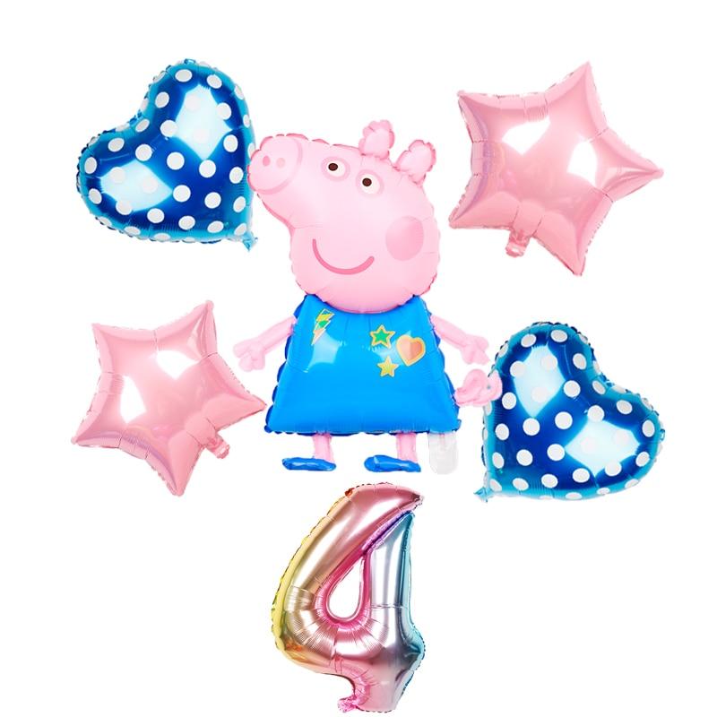 1 комплект, воздушные шары из фольги Свинки Пеппы Джордж для маленьких мальчиков и девочек, воздушные шары, украшения для вечеринки, дня рождения, детские игрушки