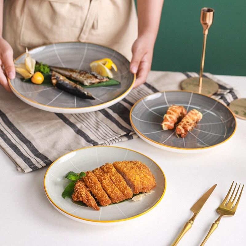 الشمال طبق ستيك السيراميك الغربية لوحة مسطحة لوحة المنزلية الأبيض طبق الإبداعية طبق سلطة مجموعة منضدة المطبخ اكسسوارات