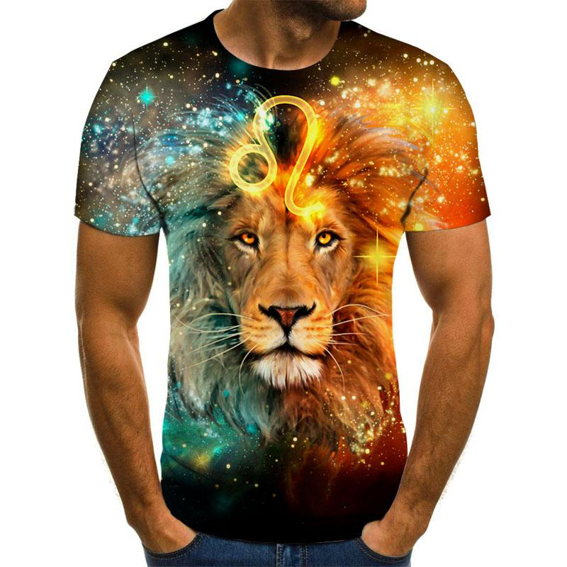 Male Fashion T-shirt Male 2019 Newest 6XL Lion 3D Print Animal Cool Funny T-Shirt Men Short Sleeve S