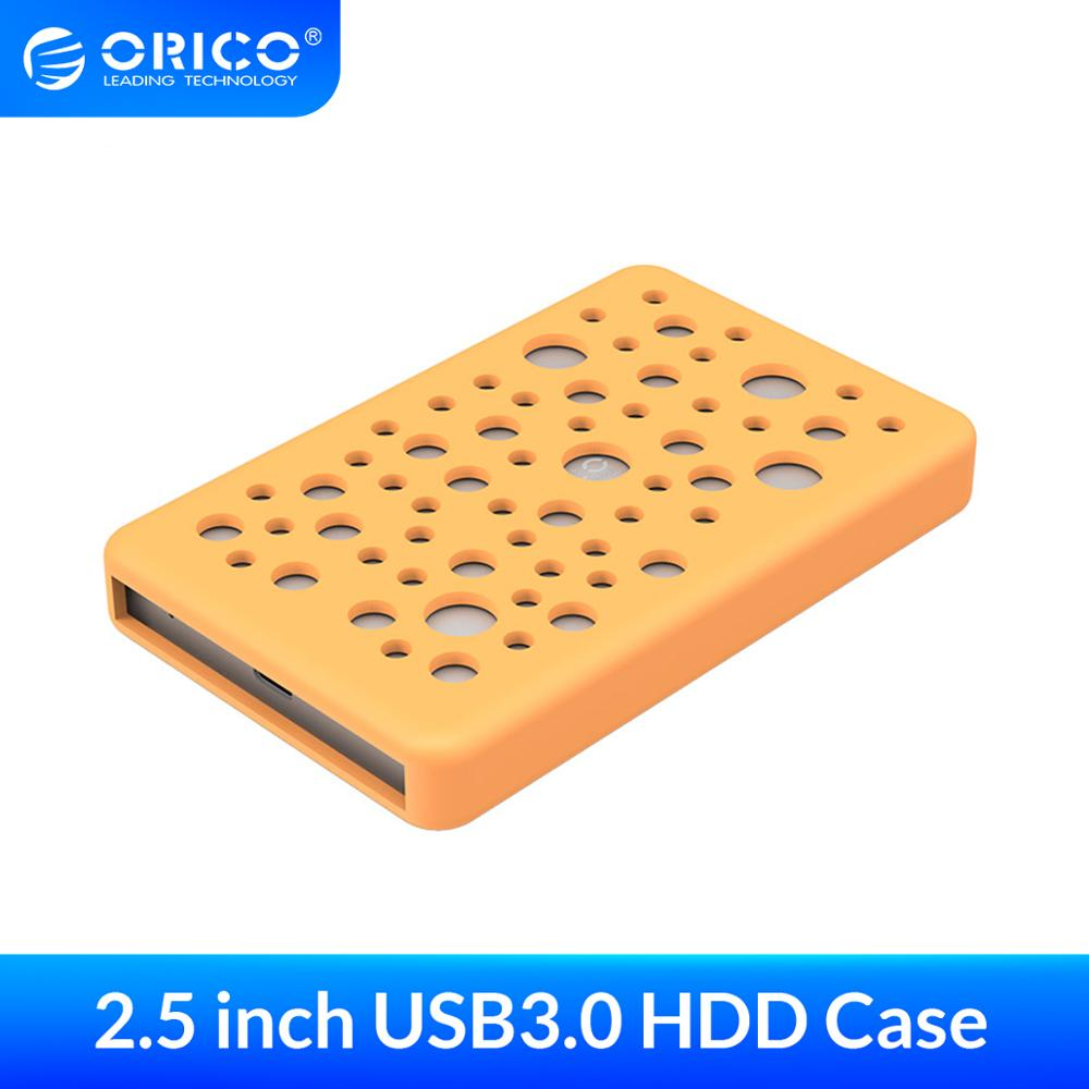 ORICO 2.5 Inch Hard Drive External Box Aluminum 5Gbps USB3.0 to SATA with Silicone Protective Cover  Metal Heat Dissipation Case