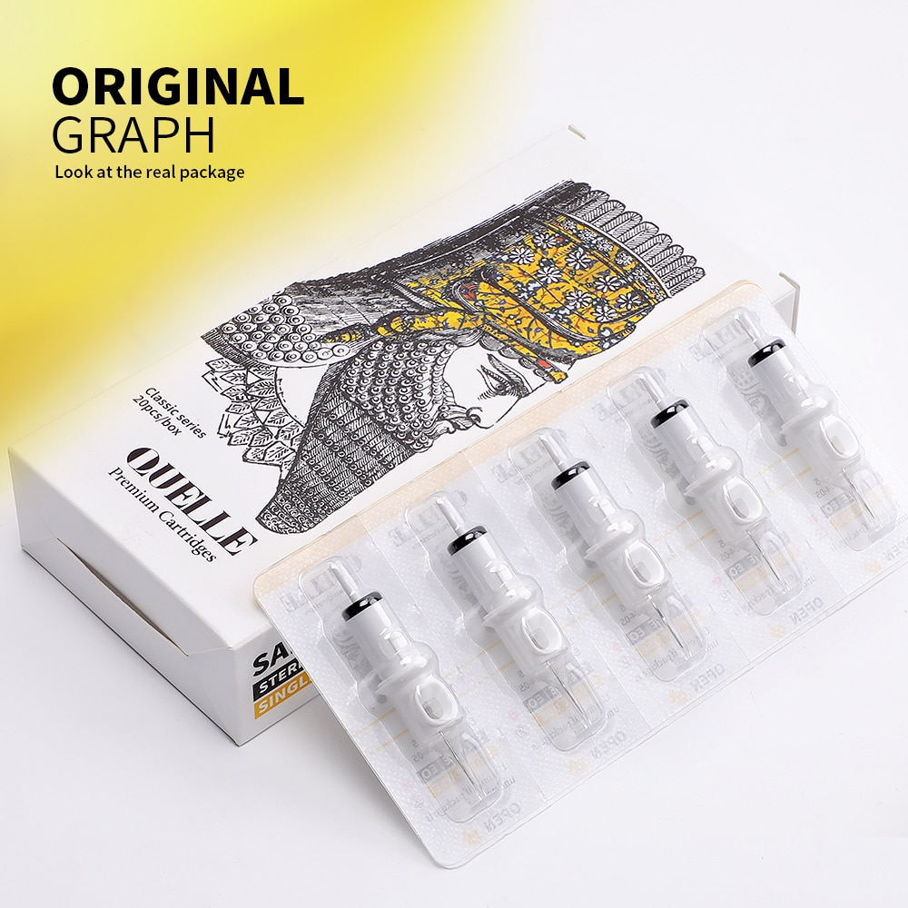20pcs QUELLE Tattoo Needles Revolution Cartridge Round Shader #10 (0.30mm needle) RC1003RS RC1005RSRC1007RS RC1009RS RC1014RS